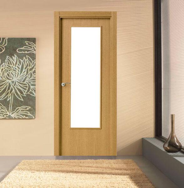 Puerta vidriera laminada efecto madera clara