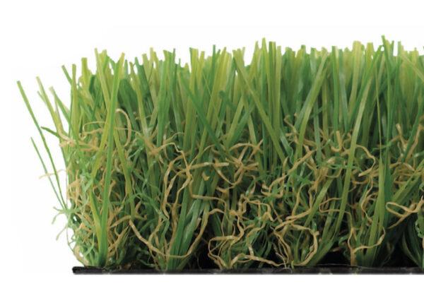 césped artificial 35 mm con rizo verde y beige