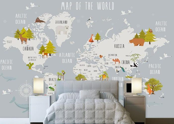 papel pintado infantil mapa mundo